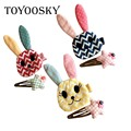 2 Hairpin/Set Rope Baby Fabric Cloth Art Rabit Fox Clip Hairpin Side Clip Children Headdress Hair Accessories Set Birthday Gifts