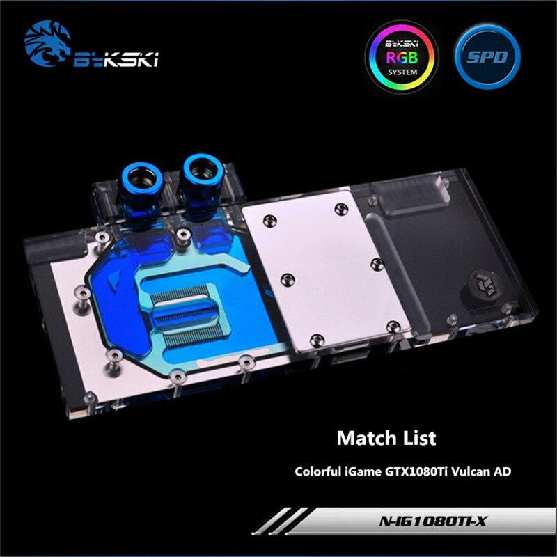 Bykski couverture complète GPU bloc d'eau pour VGA coloré iGame GTX1080Ti Vulcan et carte graphique N-IG1080TI-X