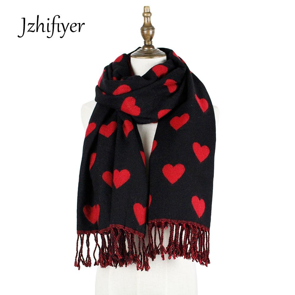 womens heart scarf winter scarf cashmere wool thick love shawl scarf luxury brand jacquard scarfs ladies pashmina fashion stole hoodie