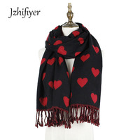 Jzhifiyer Free Ship YX172 65 180 10 2cm 300G Cashmere Wool Winter Thick Love Hearts Jacquard