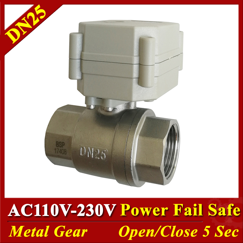Tsai Fan motorized ball valve 2 5 wires DN25 stainless steel Electric valve 12V 24V AC110V