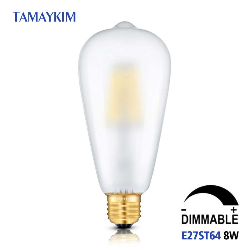 Dimmable E27 ST64 LED Vintage Filament Light Lamp For Home,8W 220V-240V,Frosted Glass Retro Edison Bulb,5000K Cold White retro lamp st64 vintage led edison e27 led bulb lamp 110 v 220 v 4 w filament glass lamp