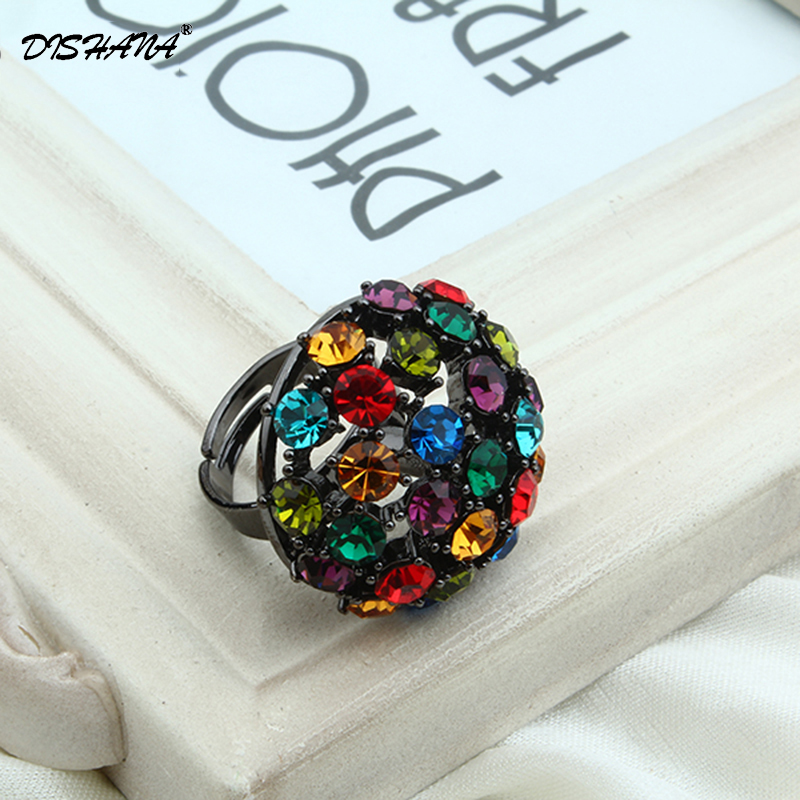 New rings for women Luxury Fashion Jewelry ring turkish Trendy women gingersnap jewelry Crystal Finger Cocktail Ring(KA0008)