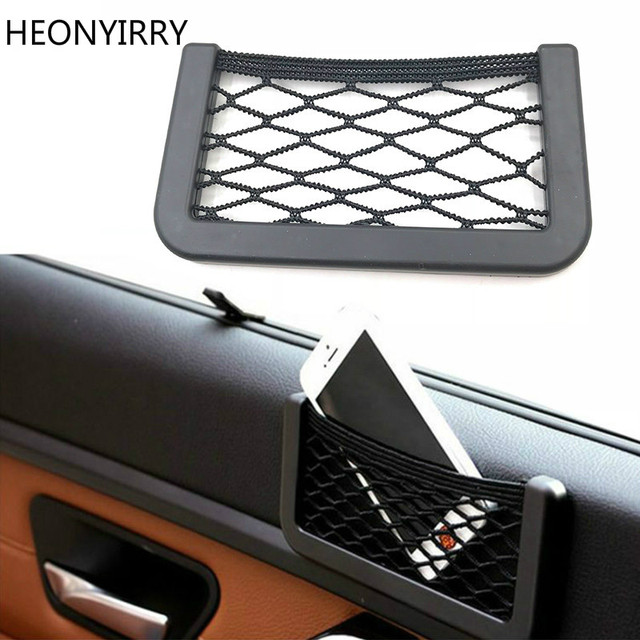 Universal Car Seat Back Storage Mesh Net Bag Strong Magic Tape 15x8cm Luggage Holder Car Trunk Organizer Car Styling