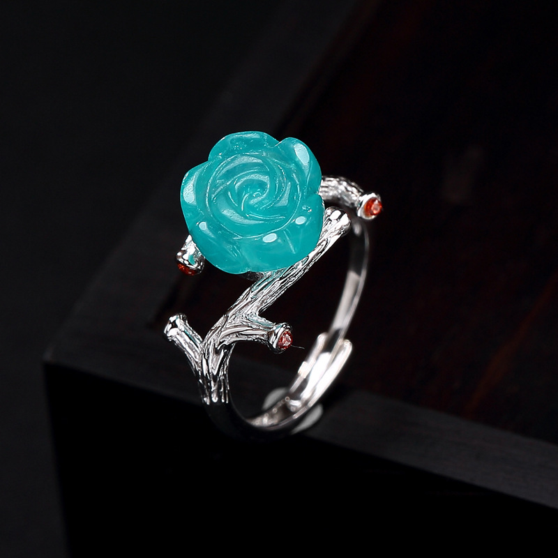 Nouveau Design pierre gemme Amazonite Rose fleur anneau pour femmes dames 100% argent pur réglable anneau bijoux Vintage