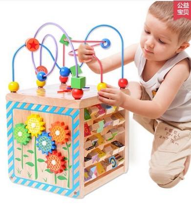 Juguetes de los niños bola redonda grandes pecho bebé educativos de madera con cuentas multi-funcional regalo tetraedro