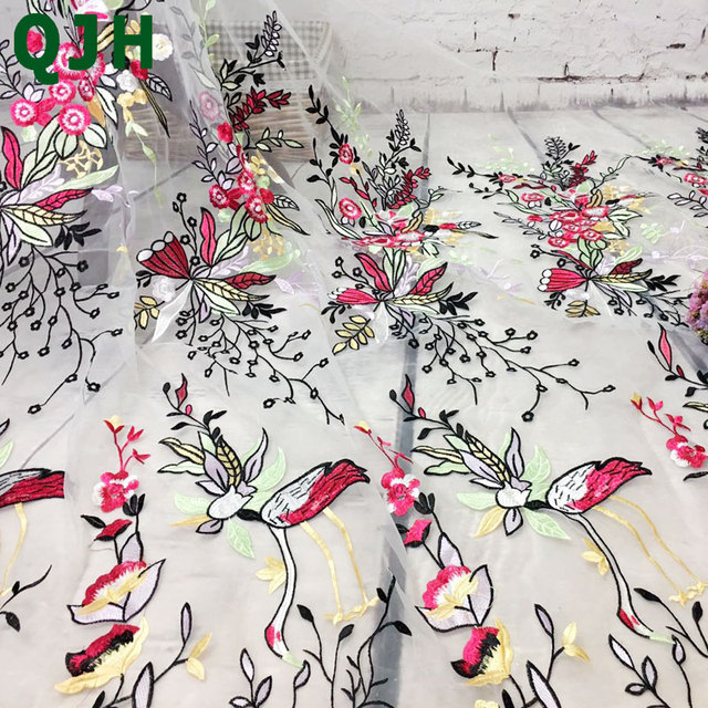Qjh New African 3d Butterfly Embroidery Flower Pattern Lace Fabric