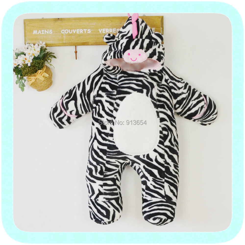new 2016 winter romper infant clothing baby boy thick cotton Rompers newborn baby girl Zebra Striped jumpsuit children outerwear 2016 newborn baby rompers cute minnie cartoon 100% cotton baby romper short sleeve infant jumpsuit boy girl baby clothing