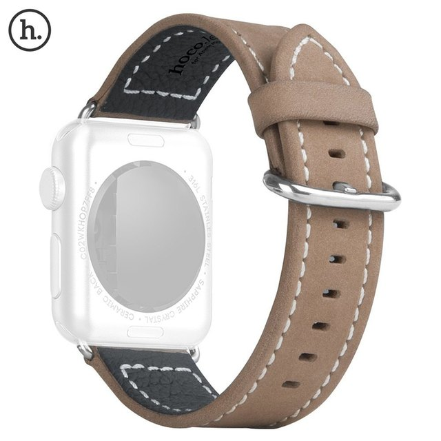 HOCO Luxurious Genuine Leather Band Strap Stainless Steel Buckle Adapter Belt for Apple Watch 42mm