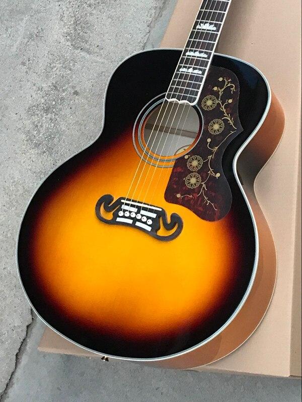 Firehawk 43 Custom Shop Sunburst J200 VS Spurce Top 6 String Acoustic Guitar SJ200 Can be Installed Fishman 101/301 Pickup