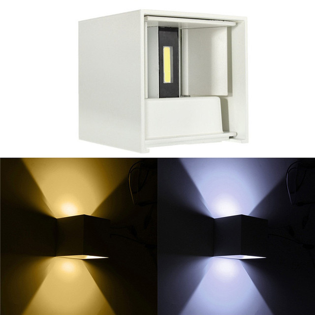 Modern Up And Down Adjustable Waterproof LED Outdoor Cube Wall Light Lamp Angle COB Aluminum