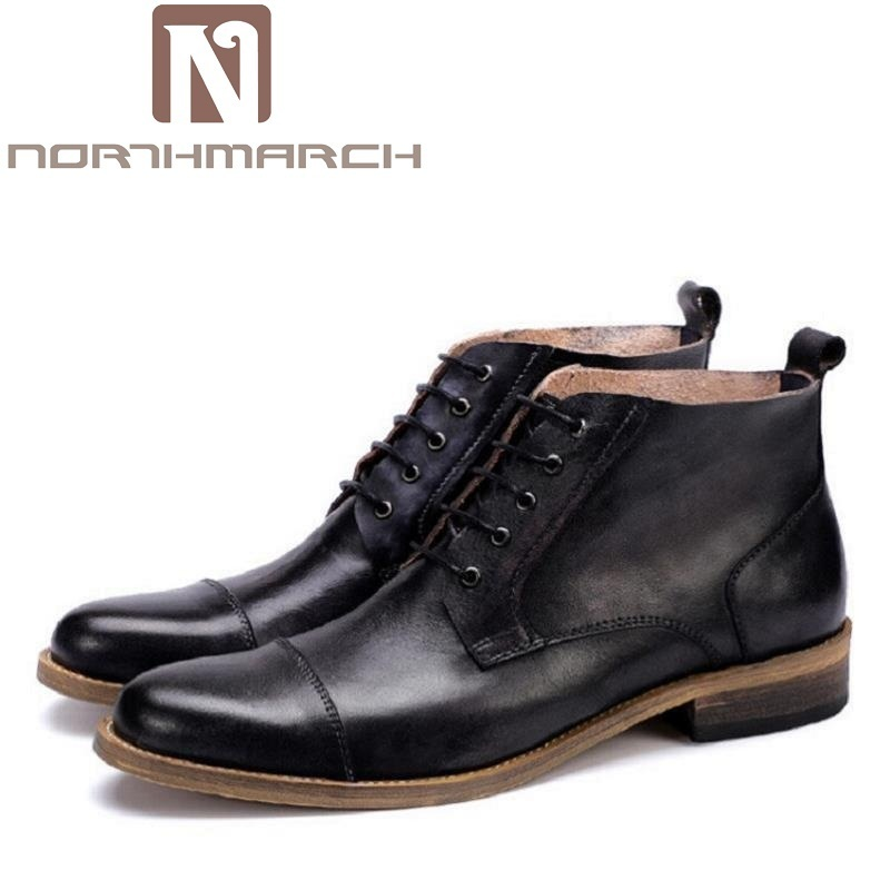 NORTHMARCH Genuine Leather Marten Boots Autumn High Quality Designer Men Shoes Lace Up Cowboy Ankle Boots Winter Shoes Obuwie iahead men boots ankle lace up military boots high quality genuine leather shoes men fashion winter shoes cowboy boots mh547