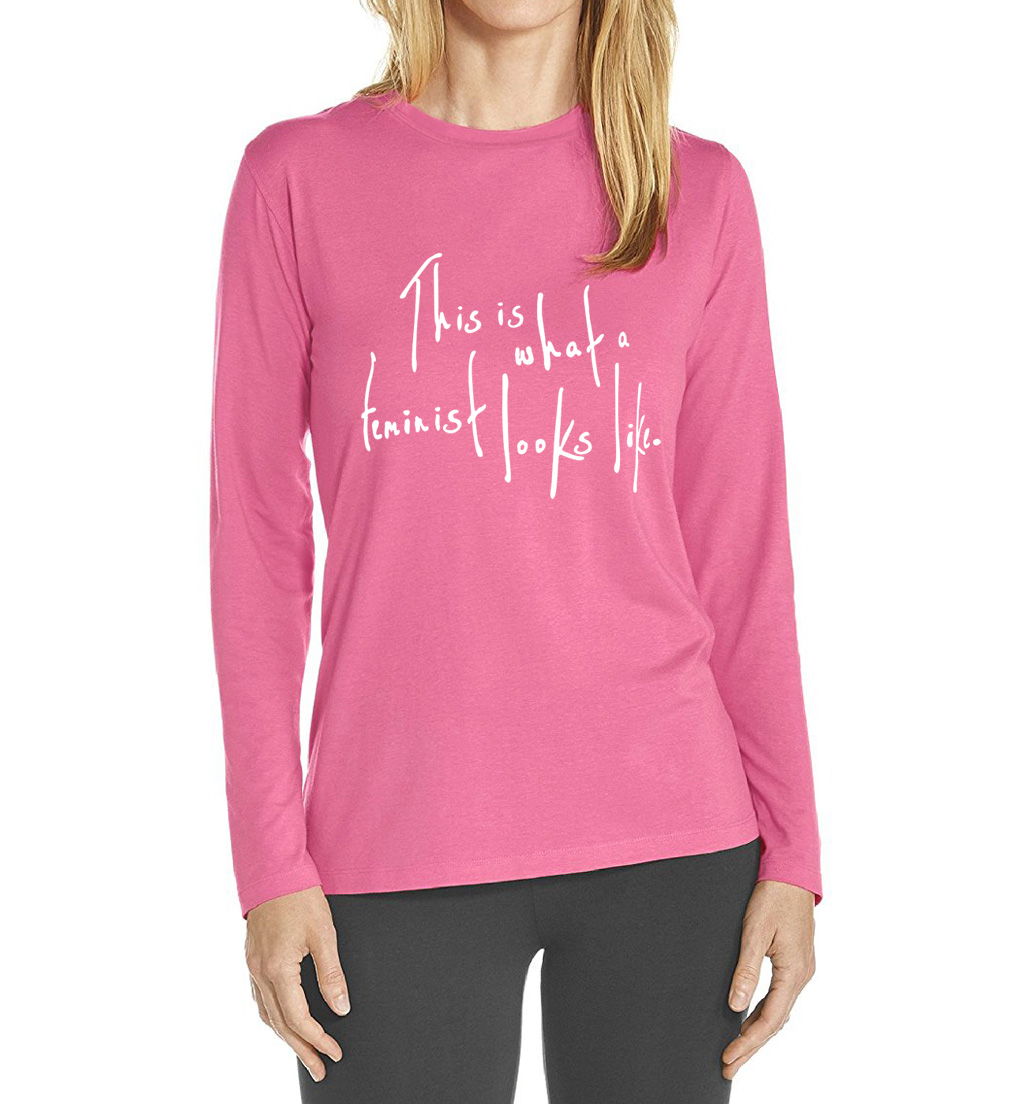 long sleeve O Neck camisetas mujer 17 This Is What a Feminist Looks Like tops tees hipster letter print t-shirts women 6