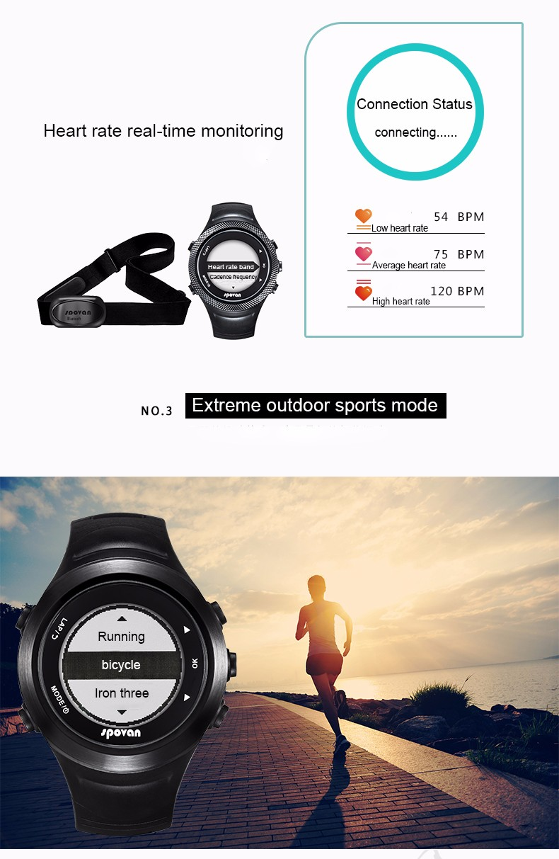 Watches Men's Watches Spovan Gps Sport Watch Bluetooth 4.0 Chest Strap+waterproof Heart Rate Monitor Calories Counter Fitness Clock Saat Montre Homme Latest Technology
