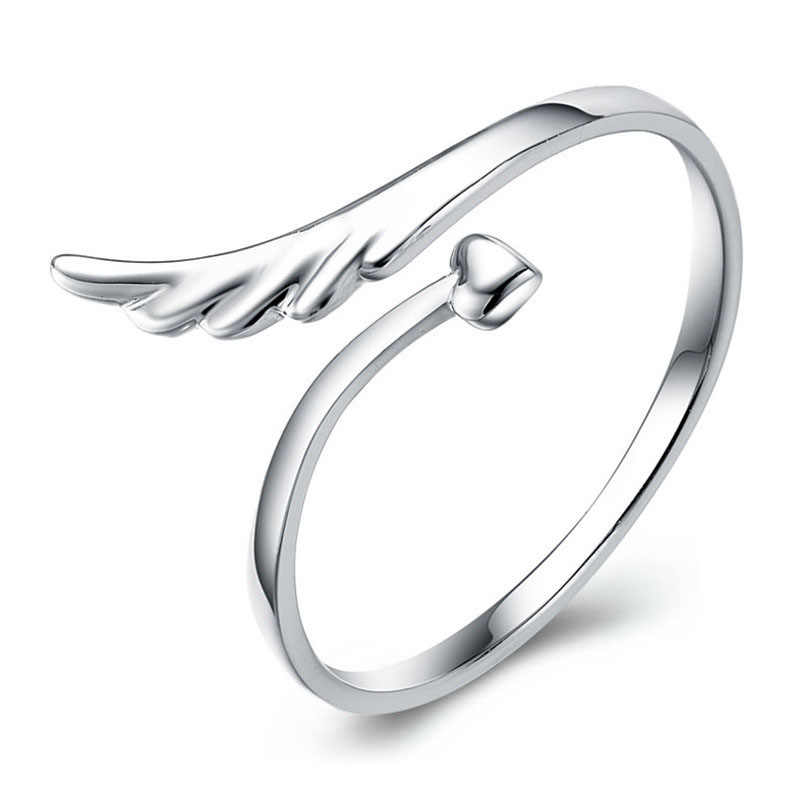 Good Quality Girl Adjustable Rings 925 Sterling Silver Women Ring Cute Fashion Wings Jewelry Lovers Gift Party Accessories