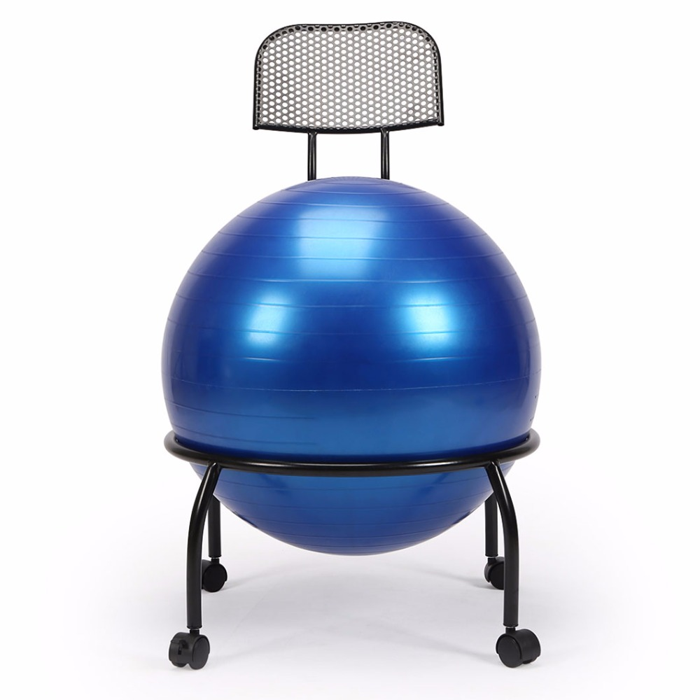 Ball Chair Us 70 99 Balance Ball Chair Exercise Yoga Ball Chair Adjusted With Stability Ball Pump Metal Frame With Wheels Perfect For Home Office In Stools