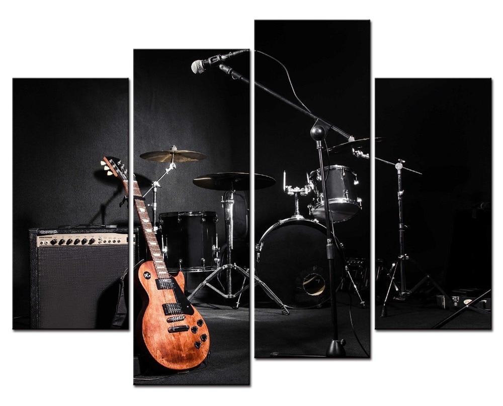 4 панели холсте картины напечатаны drummms Музыкальные инструменты Wall Art Холст модульная гостиная спальня Home Decor
