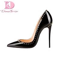 DoraTasia 2018 Big Size 34 45 Pointed Toe Rivets Party Pumps Shoes Women Sexy Thin High