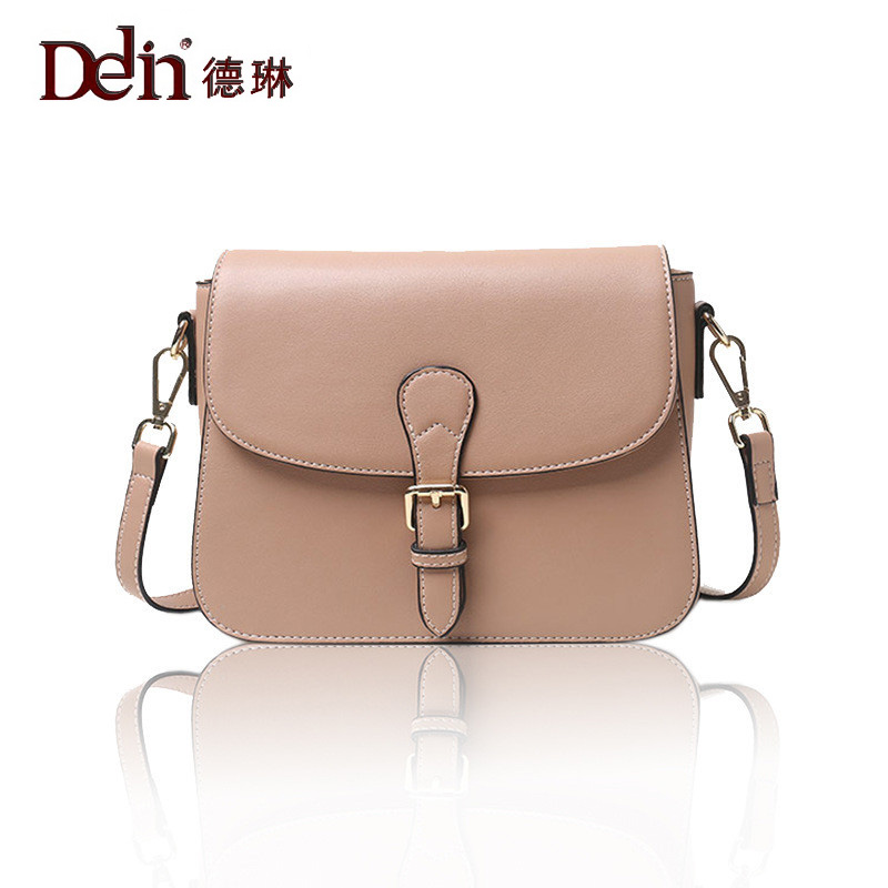 DELIN The new leisure fashion joker leather women aslant bag A classic pure color contracted saddle bag leather one shoulder free shipping 2014 boom bag leisure contracted one shoulder bag chain canvas bag