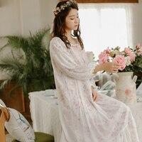 Princess Sleepwear Double Layer Floral Printed Nightgowns Vintage Royal Long-Sleeved Mesh Sleeping Dress 2017 Winter NEW 8802