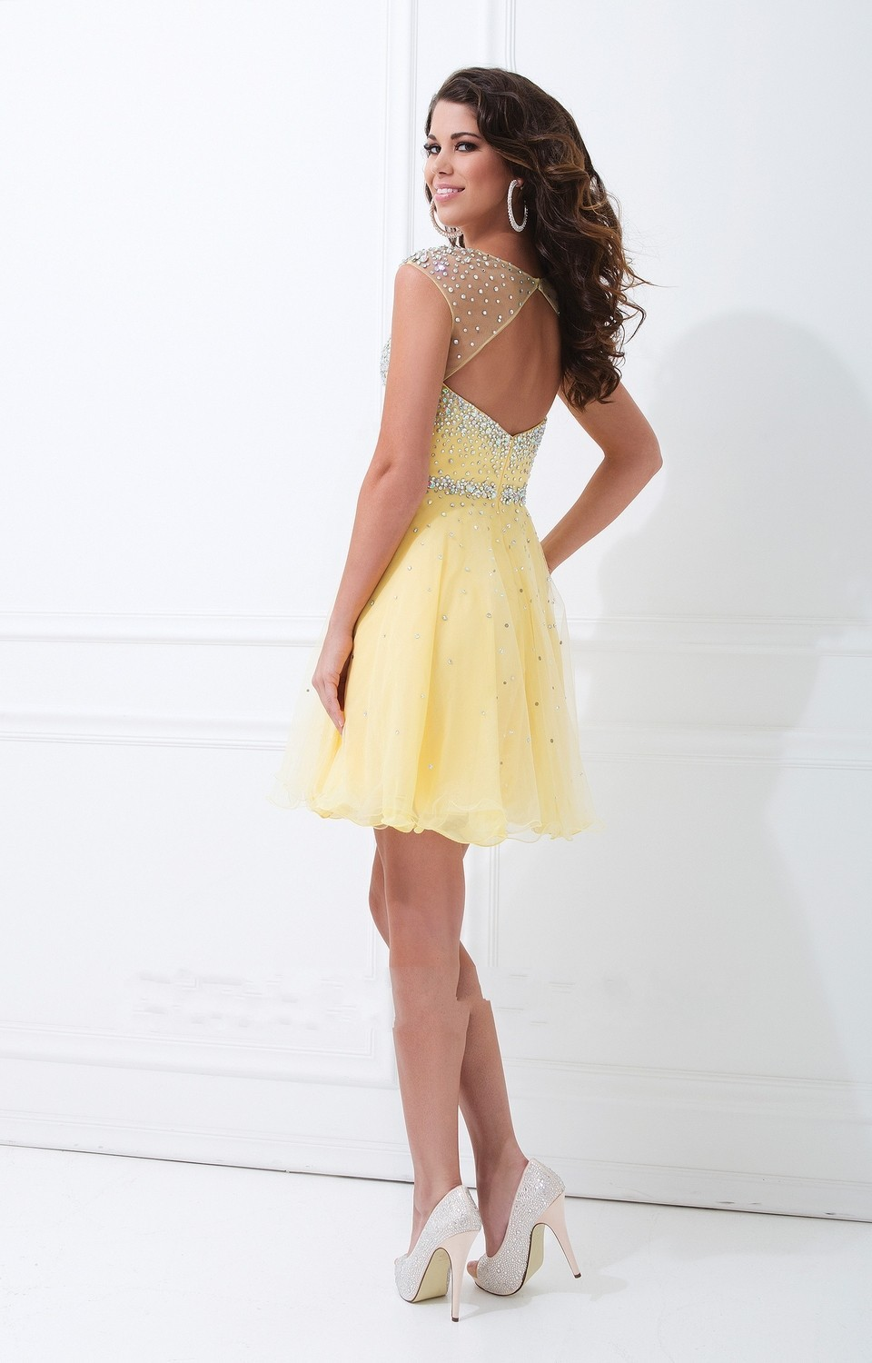 Yellow Knee Length Cocktail Dresses