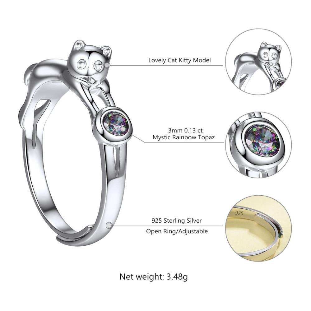 Silvercute Solid 925 Ring Topaz Cat Fine Jewelry Gemstone Engagement - Նուրբ զարդեր - Լուսանկար 4