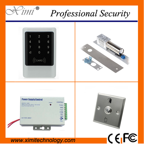 Door access control with led keypad standalone card access control reader with magnetic lock, power supply,exit button M07-K Kit rfid door access control system kit set with electric lock power supply doorbell door exit button 10 keys id card reader keypad