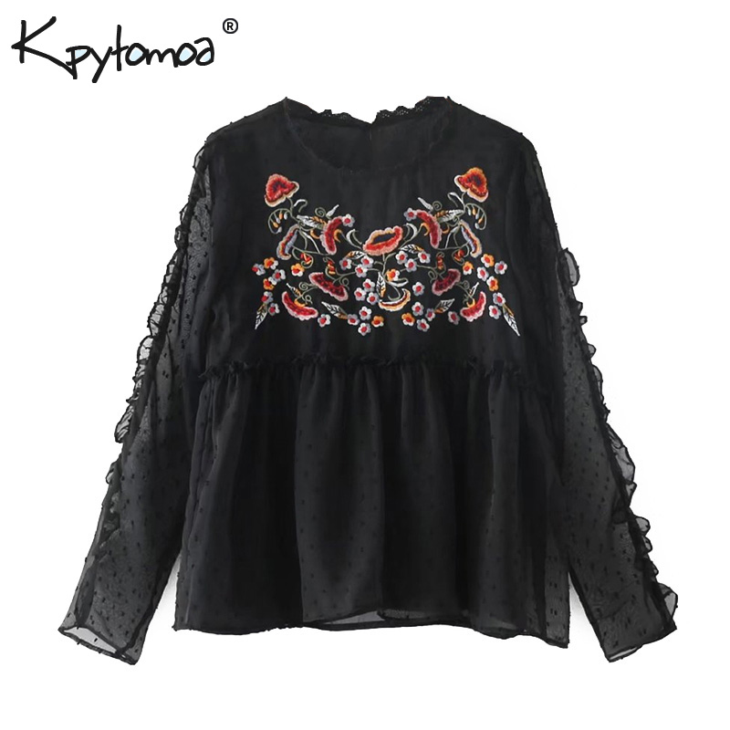 Vintage Sweet Floral Embroidered Short   Blouse     Shirt   Women 2018 New Fashion Europe Style Long Sleeve   Blouses   Casual Femme Blusas