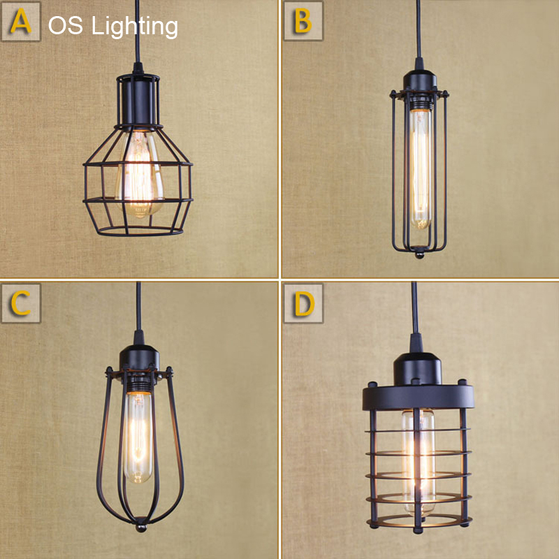 OS Loft Vintage Industrial Retro Pendant Lamp Edison Light E27 Holder Iron Restaurant Bar Counter Attic Bookstore Cage Lamp