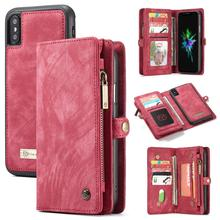 Multifunction 2 in 1 Split Wallet Card Leather Case for iPhone X XS Flip Zipper Bag Smart Phone Back Cover XR Max