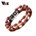 Vnox Bicycle Bracelet for Men Stainless Steel Long Chain Unique Biker Fashion 2016