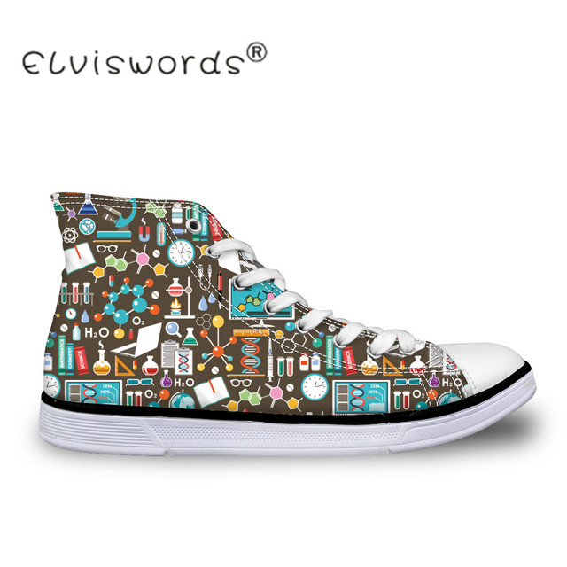 d19bc7ed22d1 ELVISWORDS Women High Top Canvas Shoes Chemistry Print Casual Teenager Girls  Vulcanize Flat Shoes Cute Female Lacing Shoes Mujer
