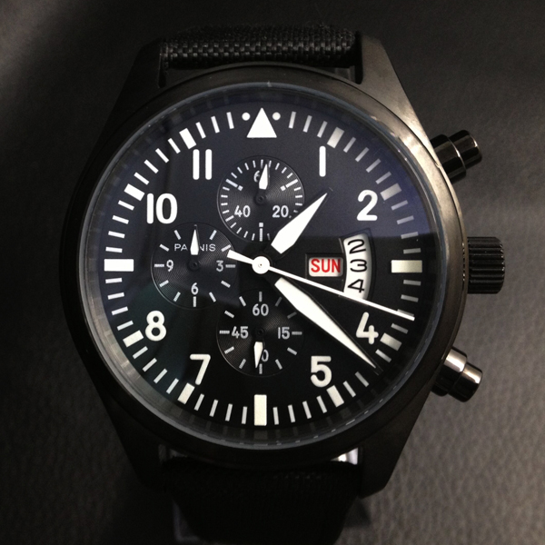 Parnis 42mm Pilot Chronograph Black Dial Stainless Steel Case Wrist Watch White Number