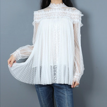 Chic womens lace blouses tops Fashion Polka Dot mesh Shirts women G088