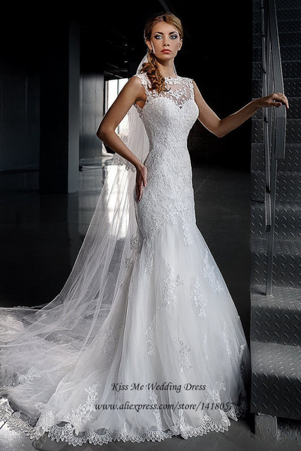 1bd196b2ba7a1 Vestido de Noiva Sereia 2015 Fashionable White Lace Wedding Dresses Brush  Train Mermaid Bridal Gowns Fish Tail Women Tulle-in Wedding Dresses from ...