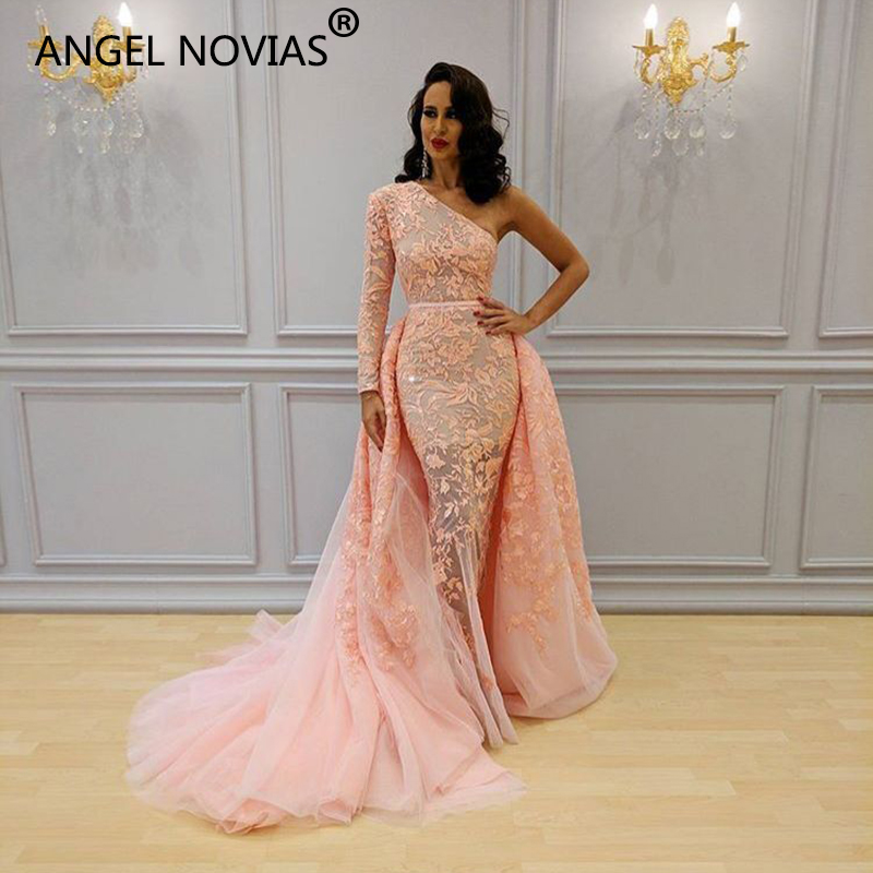 ANGEL NOVIAS Long One Shoulder Lace Arabic Pink Tulle   Evening     Dress   2018 with Detachable Skirt Vestido Sirena Largo