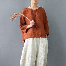 100% ผ้าลินินเสื้อยืดผู้หญิง Vintage Zen