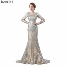 JaneVini Luxury Sequined Mermaid Mother of The Bride Dresses Scoop Neck Full Sleeves Tulle Sweep Train Dubai Evening Party Gowns(China)