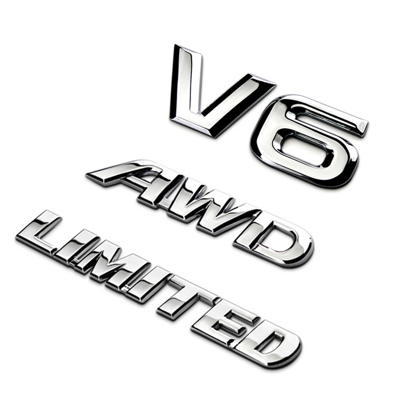 Car Metal Chrome 3D V6 Displacement Emblem Badge truck motor sticker Decal AMS