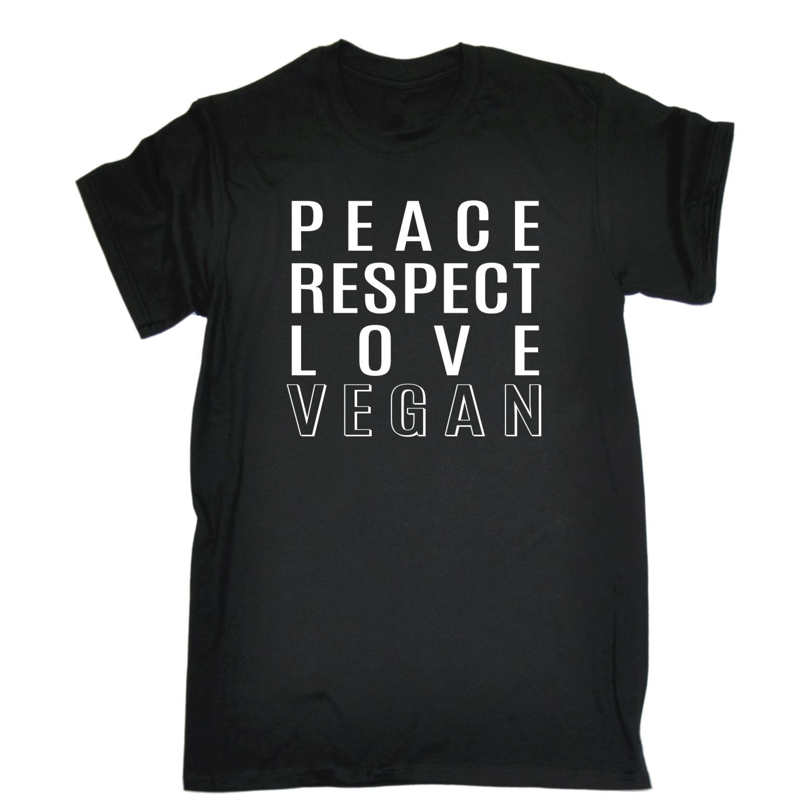 PEACE RESPECT LOVE VEGAN T-SHIRT Vegan Vegetarian Hippie Hipster Birthday Gift Loose Cotton T-Shirts For Men Cool Tops T Shirts