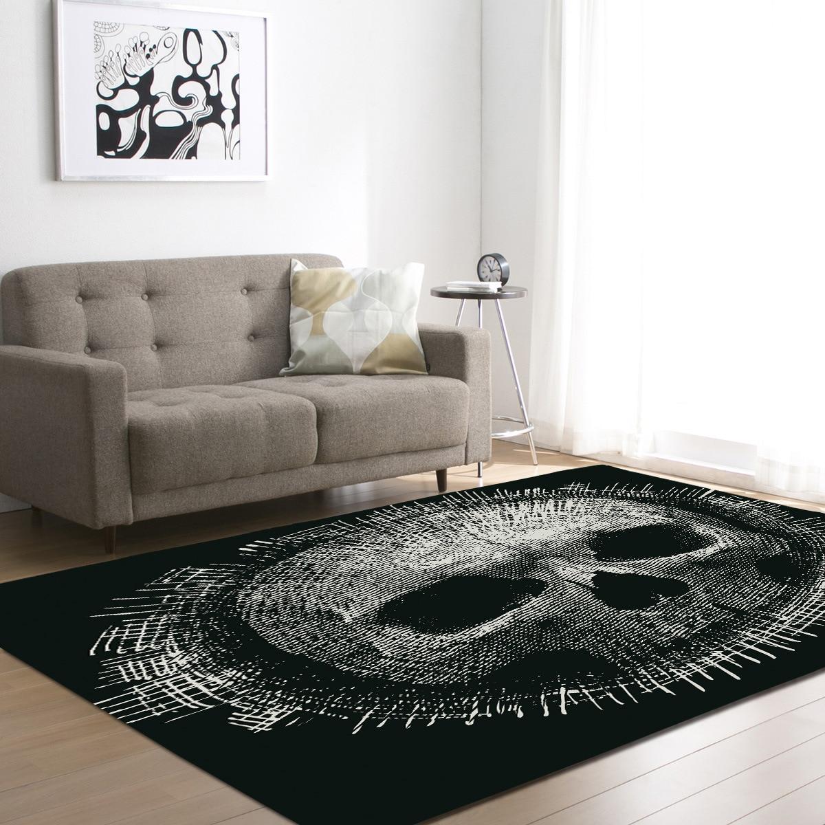 DeMissir 3D crâne imprimer grand tapis pour salon antidérapant chambre tapis tapete para sala tapetes tapis vloerkleed teppich