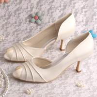 14 Colors High Quality Lady Shoes Wedding Prom Pumps Open Toe Ivory Satin Big Size