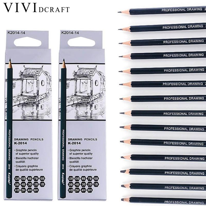 Vividcraft Art Painting Supplies 14pcs/Set Wood Black Sketch Pencil Drawing Tools 6H/4H/2H/HB/B/2B/3B/4B/5B/6B/7B/8B/10B/12B faber castell 16pcs drawing pencil 8b 7b 6b 5b 4b 3b 2b b hb f h 2h 3h 4h 5h 6h standard pencils for school sketch pencil set