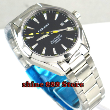 Polished 41mm corgeut black dial  Stainless Steel strap Sapphire Glass automatic mens Watch