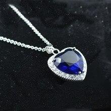 AAA 100% de Plata de ley 925 Colgante de Collar de Corazón Del Océano Colgante Amatista Natural Puro Collares Joyería Fina Regalo de Navidad