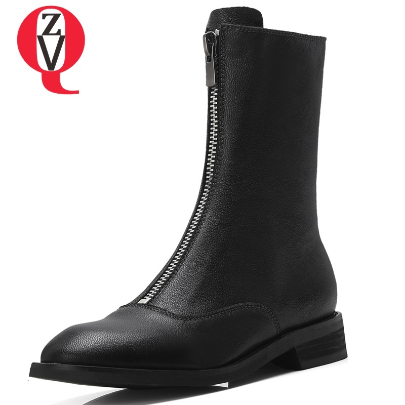 ZVQ shoes women 2018 new fashion popular front zip sheepskin round toe mid calf boots black and white winter warm martin boots winter women boots basic fashion round toe comfortable flat shoes female footwear mid calf warm boots popular wholesale dgt674