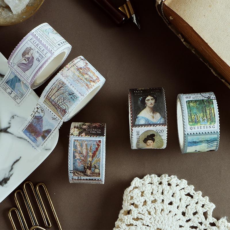 Vintage Stamp Series Decorative Adhesive Tape Masking Washi Tape DIY Scrapbooking Sticker Label Japanese Stationery
