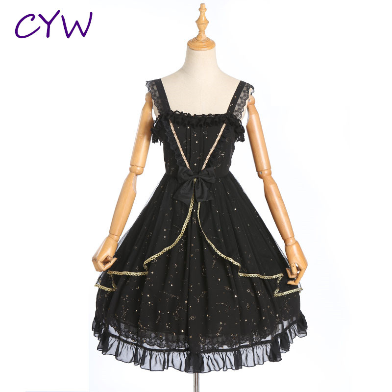 New Fashion Women <font><b>Lolita</b></font> <font><b>Dress</b></font> Beautiful Skirt Without Sleeves Party Lovely <font><b>Dresses</b></font> Princess Bowknot Uniforms <font><b>Dress</b></font> image