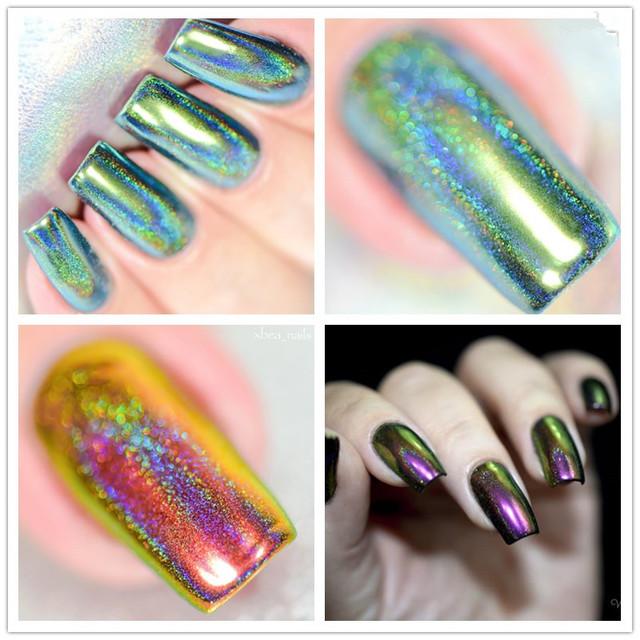 1Box Nail Glitter Powder Silver Chameleon Holographic Chorme Mirror Effect Nail Powder Pigment Dust Decoration for Nail Art