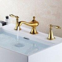 3pcs golden finishing 8 Widespread Roman Bathroom Faucet Vanity Sink Lavatory mixer water tap